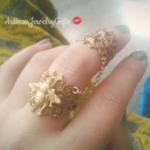 Gold Bee Chain Ring Set Armor Rings Set